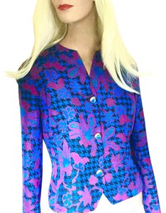 Anne Crimmins for Umi Collections Silk Floral Print New Designer Travel Bright Blue Pink Black Green Jacket
