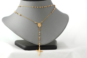 Tri Color Gold 14k Rosary Necklace