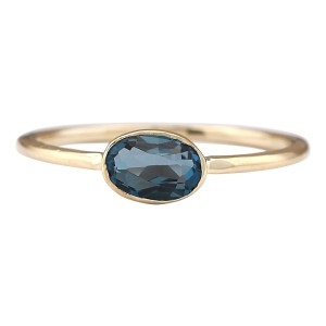 Fashion Strada 0.60 CTW Natural London Blue Topaz Ring In 14k Yellow Gold