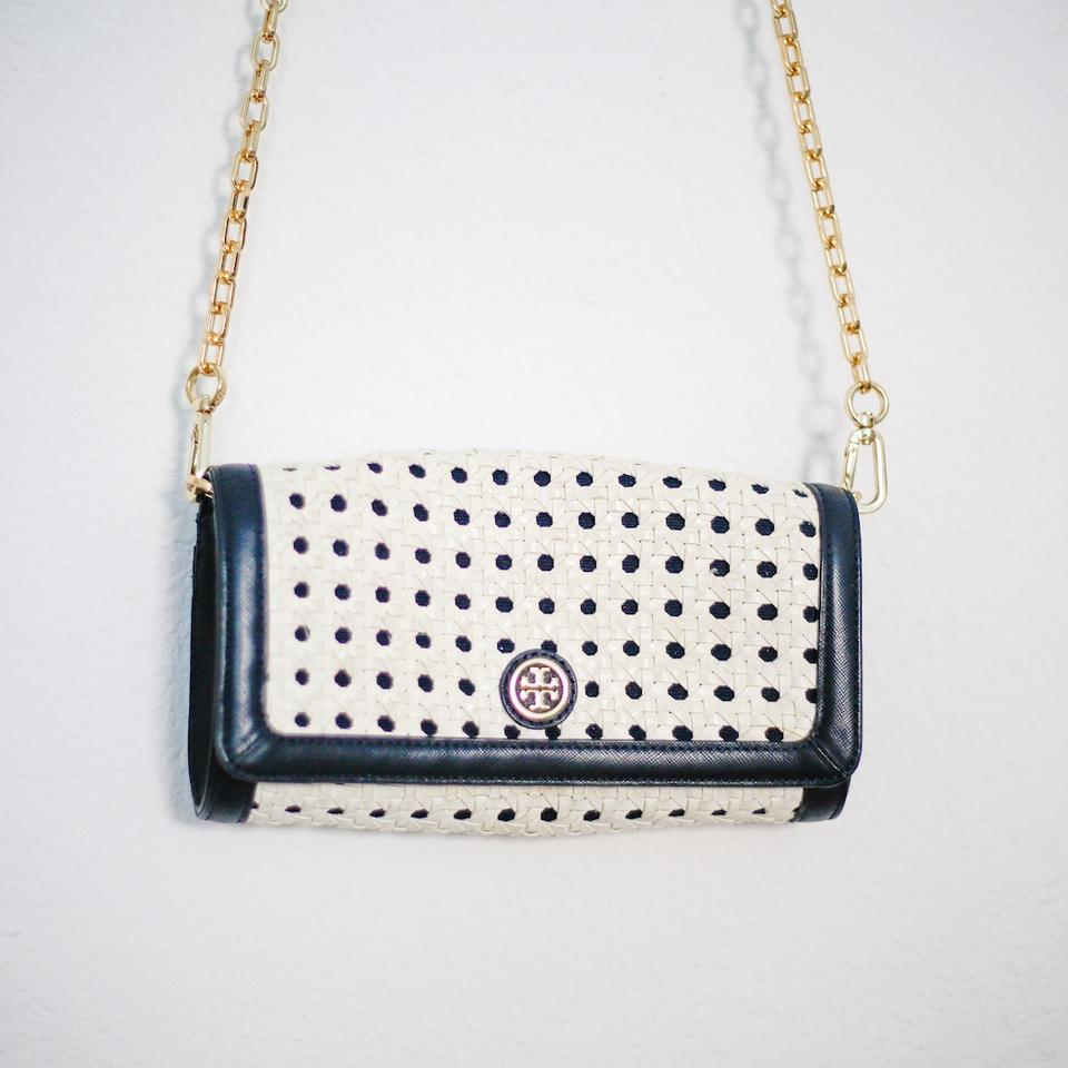 a097a1ee10f Tory Burch Robinson Basket Weave Clutch Navy White Leather Cross Body Bag