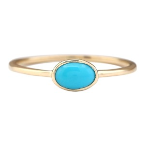 Fashion Strada 0.60 CTW Natural Turquoise Ring In 14k Yellow Gold