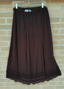 Chico's Boho Maxi Lace Lace Trim Maxi Skirt Brown
