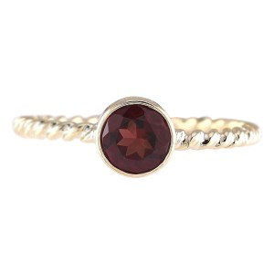 Fashion Strada 1.00 CTW Natural Garnet Ring In 14k Yellow Gold