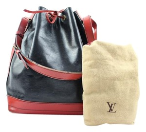 Louis Vuitton Red Black Two Tone Hobo Bucket Shoulder Bag