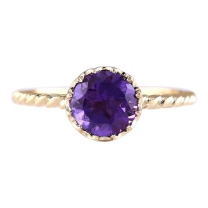 Fashion Strada 1.50 CTW Natural Amethyst And Diamond Ring In 14k Yellow Gold