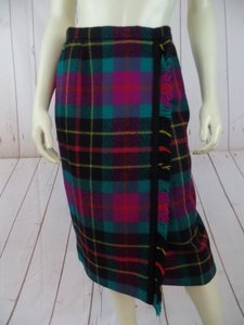 Carlisle Wool Fringe Vibrant 10 Skirt Magenta, Black, Turquoise & Yellow Plaid