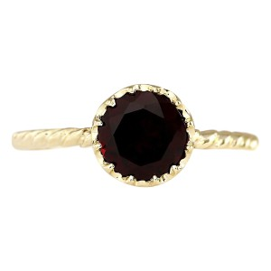 Fashion Strada 1.50 CTW Natural Garnet Ring In 14k Yellow Gold