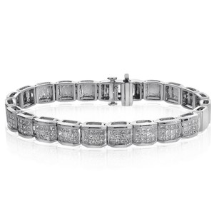 Avital & Co Jewelry Carat G-si1 Princess Cut Diamond Invisible Set Bracelet 14k White Gold