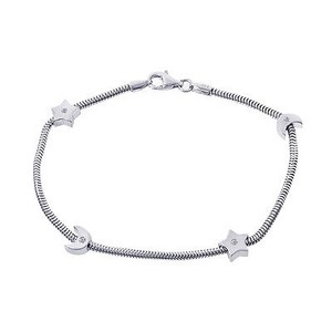 0.10 Carat Round Cut Diamonds Moon Stars Bracelet.14k White Gold.