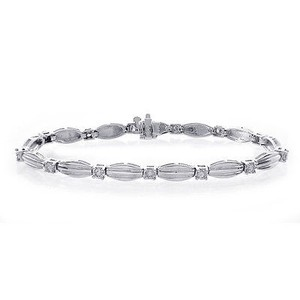 1.25 Carat I-si1 Round Cut Diamond Bracelet 14k White Gold
