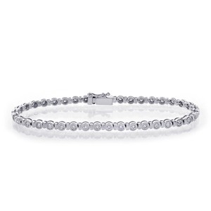 Avital & Co Jewelry 1.55ct G-si1 Round Cut Diamond Bezel Tennis Bracelet 14k WG
