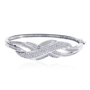Avital & Co Jewelry Carat G-i1 Round Baguette Cut Diamond Bangle Bracelet 14k White Gold