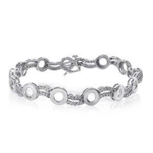Avital & Co Jewelry 1.20 Carat Diamond O-shape Link 14k White Gold Bracelet