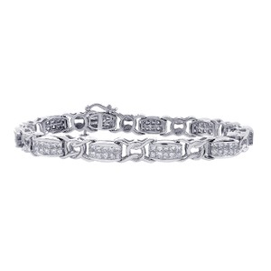 Avital & Co Jewelry Carat Diamond Fancy Shaped Link 14k White Gold Bracelet