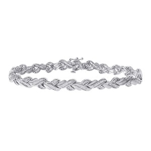 Avital & Co Jewelry 1.00 Carat Diamond Accent Fancy 14k White Gold Link Bracelet