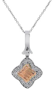 Avital & Co Jewelry 0.50 Carat Round Brilliant Cut Diamond Pendant 14k White And Rose Gold