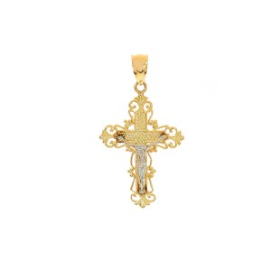 Avital & Co Jewelry 14k Yellow Gold Art Deco Jesus Crucifix Cross Pendant
