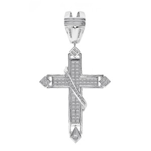 Avital & Co Jewelry 4.53 Carat Diamond Princess Cut Cross Pendant 14k White Gold