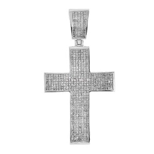 Avital & Co Jewelry 7.15 Carat Princess Cut Diamond Certified Cross Pendant 14k White Gold