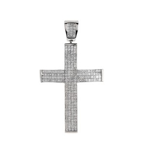 Avital & Co Jewelry Carat Princess Cut Diamond Cross Pendant 14k White Gold