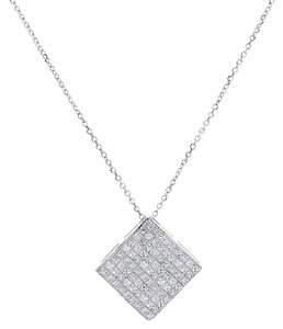Avital & Co Jewelry 1.75 Carat Princess Cut Diamond Square Pendant Necklace 14k White Gold