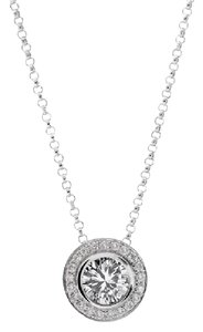 Avital & Co Jewelry 0.75 Carat Halo Diamond Pendant 14k White Gold