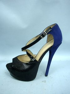 Liliana Lilliana Snakeskin Blue & Black Platforms