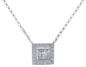 Avital & Co Jewelry 0.47 Carat Diamond Princess Cut Pendant 14k White Gold