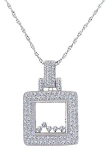 Avital & Co Jewelry 1.50 Carat Diamond Happy Diamonds Square 14k White Gold Pendant