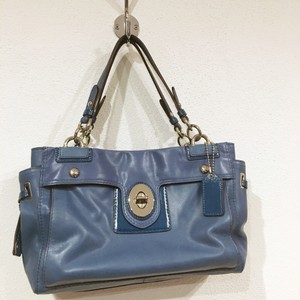 Coach Satchel in Blue, Silver