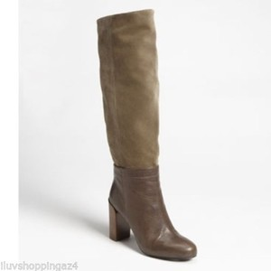 Vince Leather Knee High Tall Brown with Olive Suede Boots