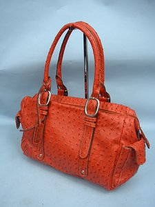 Mondani Ostrich Satchel in Burnt Orange