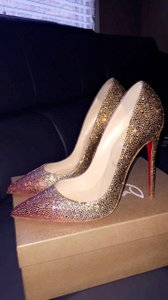 Christian Louboutin Gold and Pink Pumps