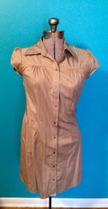 IZ Byer California short dress Tan Buttons Tunic Collar on Tradesy