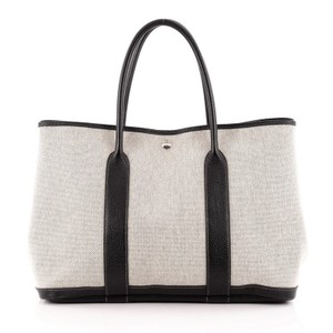 Herms Hermes Toile Tote in White