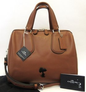 Coach Satchel in Brown Saddle, Black, Silver