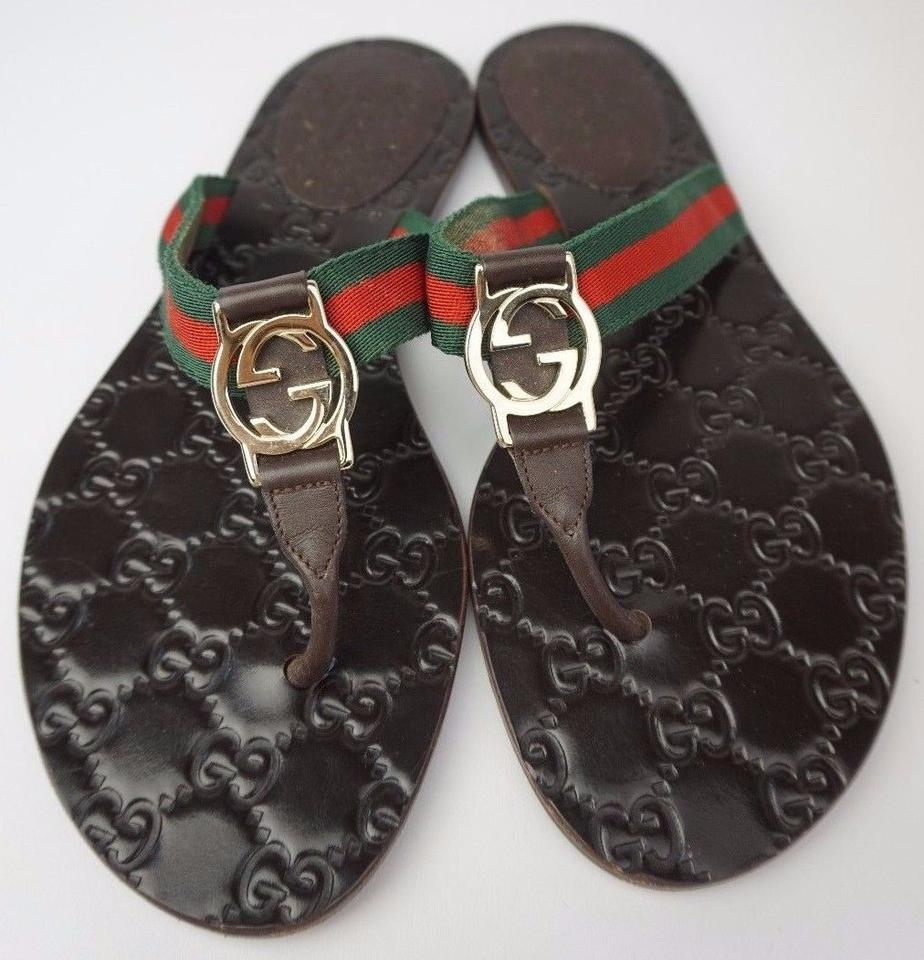 376f2ffdd4da2 Gucci Brown Gg Logo Web Cocoa Flip Flops Women s Sandals Size US 6 ...