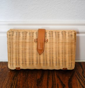 J.Crew Rattan Straw Natural Clutch