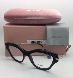 Miu Miu MIU MIU Eyeglasses VMU 07O 1AB-1O1 52-16 Black & Gold Cat Eye Frames