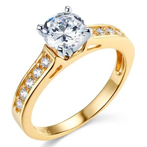 14k Yellow Gold Cathedral Setting Round-cut Man Made Diamond Engagement Ring Sizes 5 6 7 8 9 10