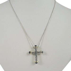 David Yurman David Yurman Sterling Silver 18K Sapphire Cross Necklace