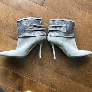 Manolo Blahnik Sequined Suede Gray Boots