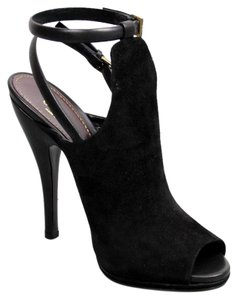 Gucci Jane Ope-toe Suede Platform Black Boots