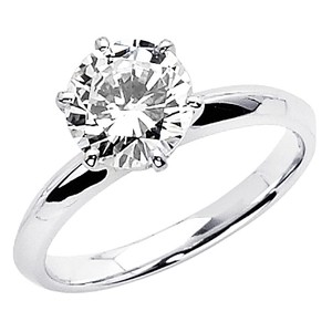 14k Gold Plated Knife-edge Round-cut Solitaire Cz Engagement Ring - Sterling Silver Sizes 5 6 7 8 9