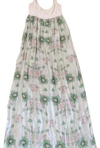 White and mint green floral pattern Maxi Dress by Aila Blue Maxi Silk