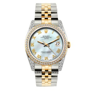 Rolex 34MM ROLEX DATE 2-TONE 2.5CT DIAMOND WATCH WITH ROLEX BOX & APPRAISAL
