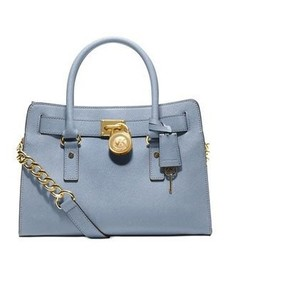 Michael Kors Satchel in Pale Blue/Gold