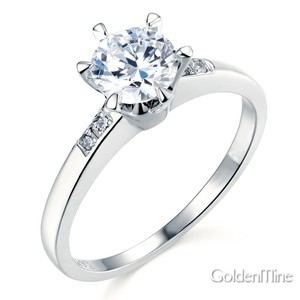 14k Gold Plated Chic Six-prong Round Cut Cz Engagement Ring In Sterling Silver Sizes 5 6 7 8 9