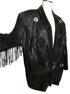 Whipp Fringe Suede Leather Fall Conchos Leather Jacket