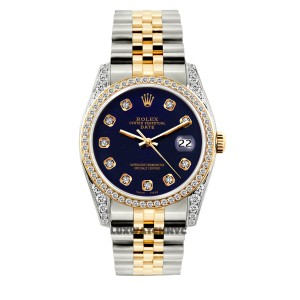 ROLES 34MM ROLEX DATE 2-TONE 2.5CT DIAMOND WATCH WITH ROLEX BOX & APPRAISAL